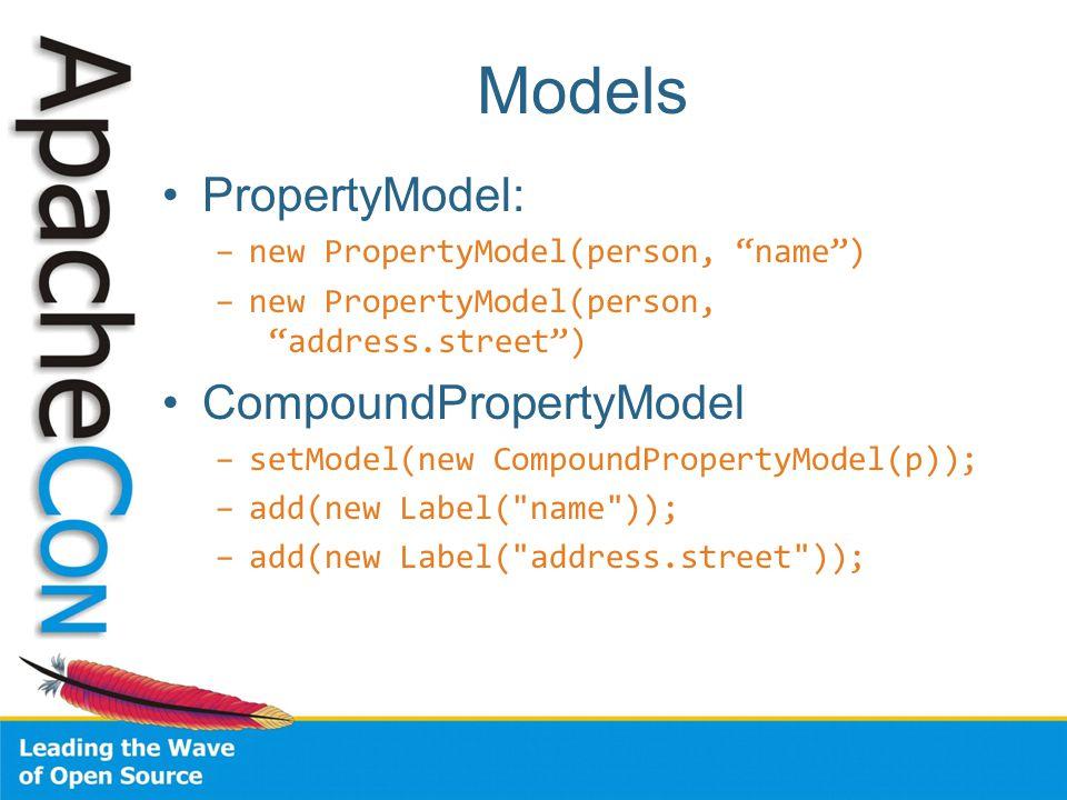 Models PropertyModel: –new PropertyModel(person, name ) –new PropertyModel(person, address.street ) CompoundPropertyModel –setModel(new CompoundPropertyModel(p)); –add(new Label( name )); –add(new Label( address.street ));