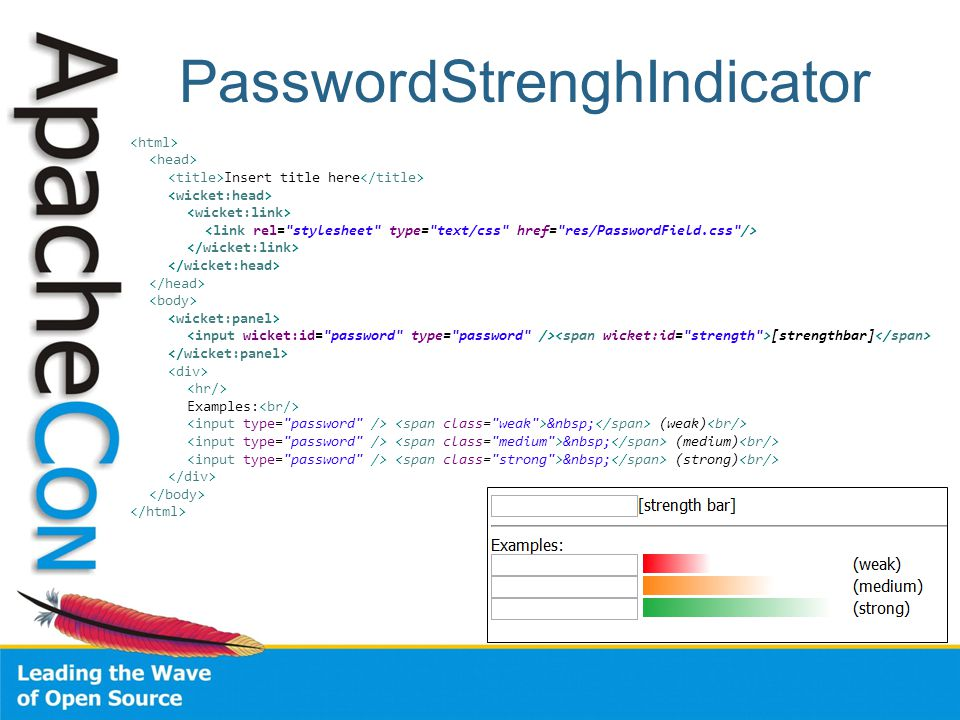 PasswordStrenghIndicator Insert title here [strengthbar] Examples: (weak) (medium) (strong)