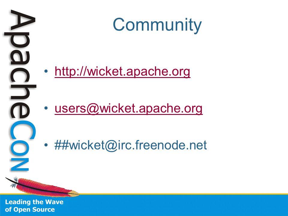 Community http://wicket.apache.org users@wicket.apache.org ##wicket@irc.freenode.net