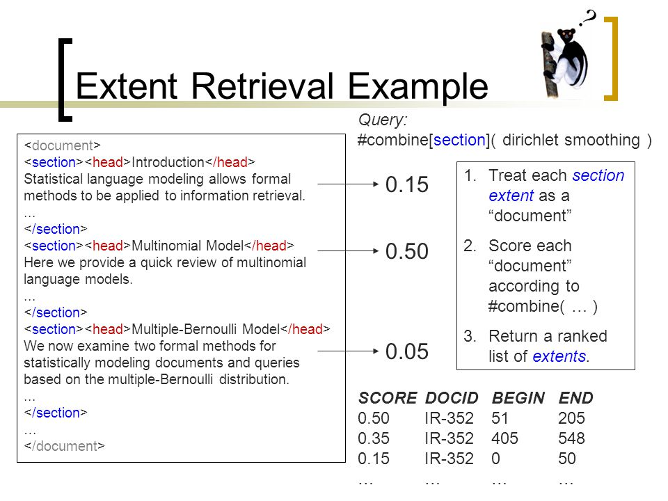 Extent Retrieval Example Introduction Statistical language modeling allows formal methods to be applied to information retrieval....