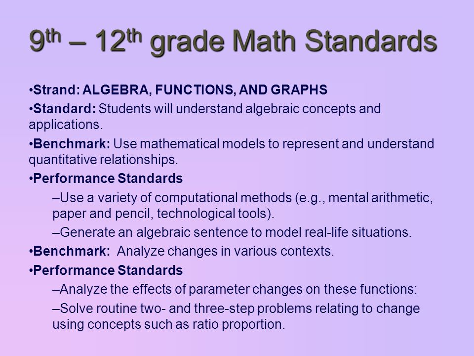 9 th – 12 th grade Math Standards Strand: ALGEBRA, FUNCTIONS, AND GRAPHS Standard: Students will understand algebraic concepts and applications.