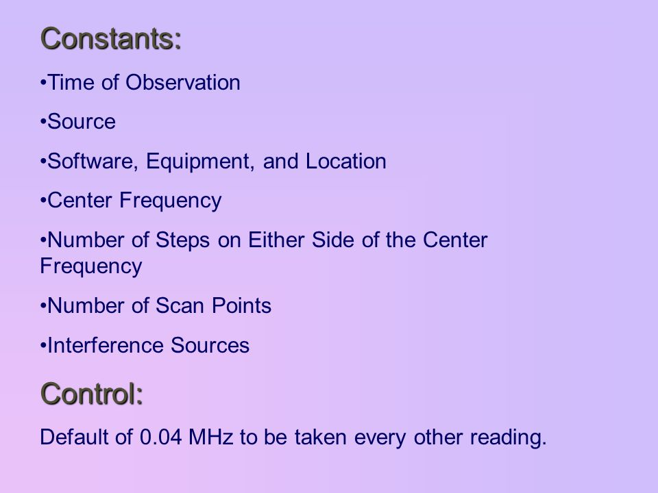 Constants: Time of Observation Source Software, Equipment, and Location Center Frequency Number of Steps on Either Side of the Center Frequency Number of Scan Points Interference SourcesControl: Default of 0.04 MHz to be taken every other reading.