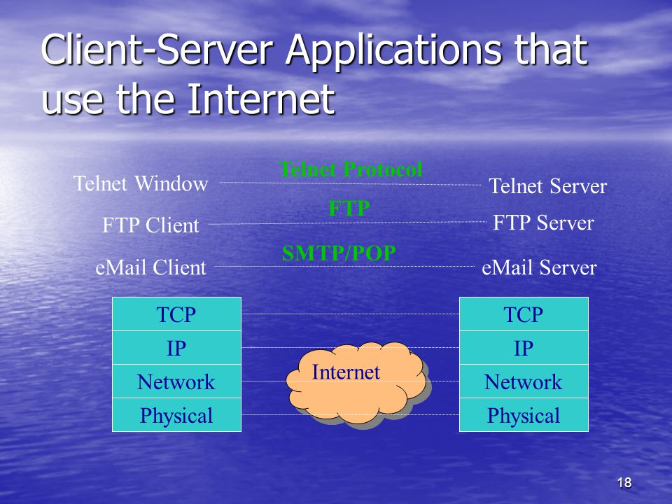 18 Client-Server Applications that use the Internet Physical Network TCP IP Physical Network TCP IP Internet Telnet Window Telnet Server FTP Client FTP Server eMail ClienteMail Server SMTP/POP FTP Telnet Protocol