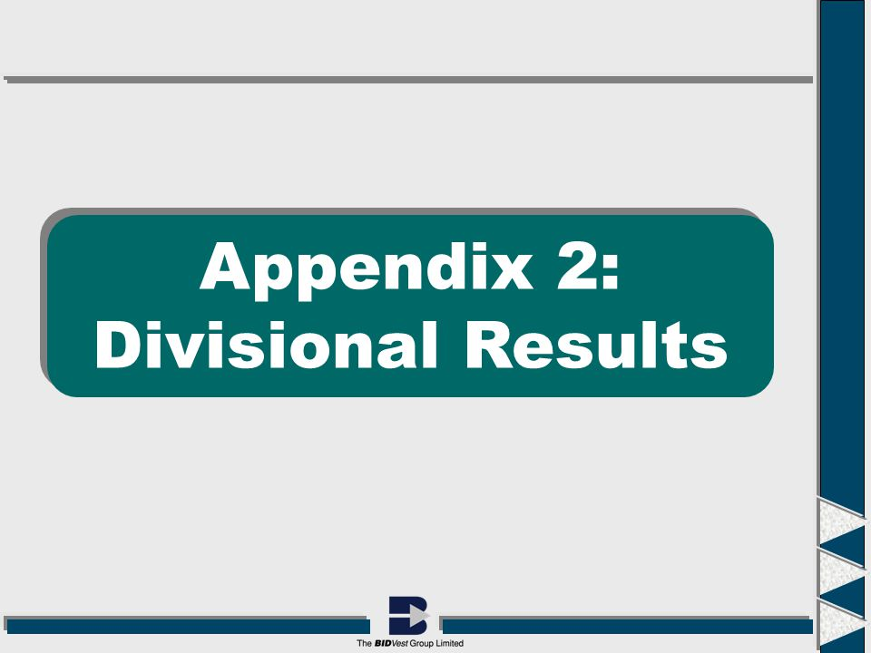 Appendix 2: Divisional Results