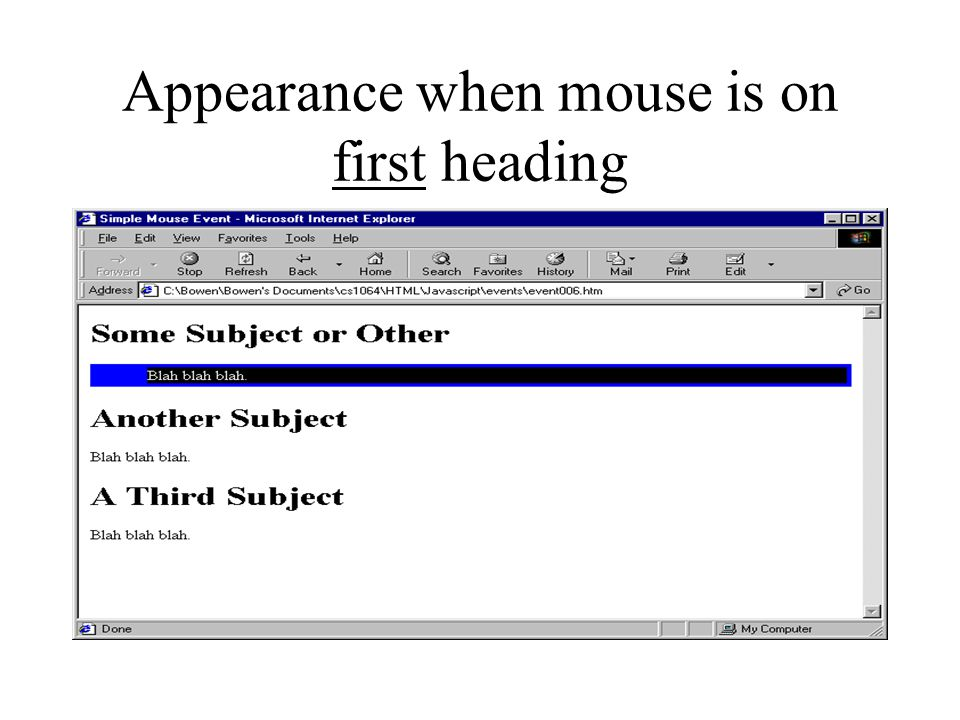Appearance when mouse is on first heading
