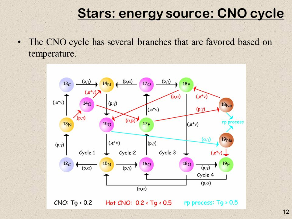 12 Stars: energy source: CNO cycle The CNO cycle has several branches that are favored based on temperature.