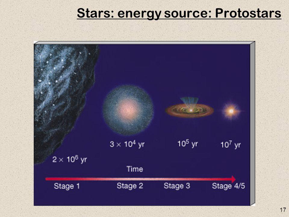 17 Stars: energy source: Protostars