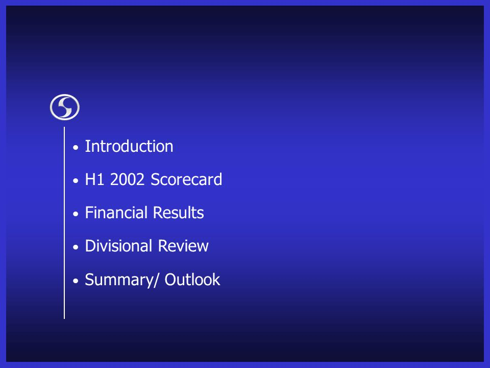 Introduction H1 2002 Scorecard Financial Results Divisional Review Summary/ Outlook
