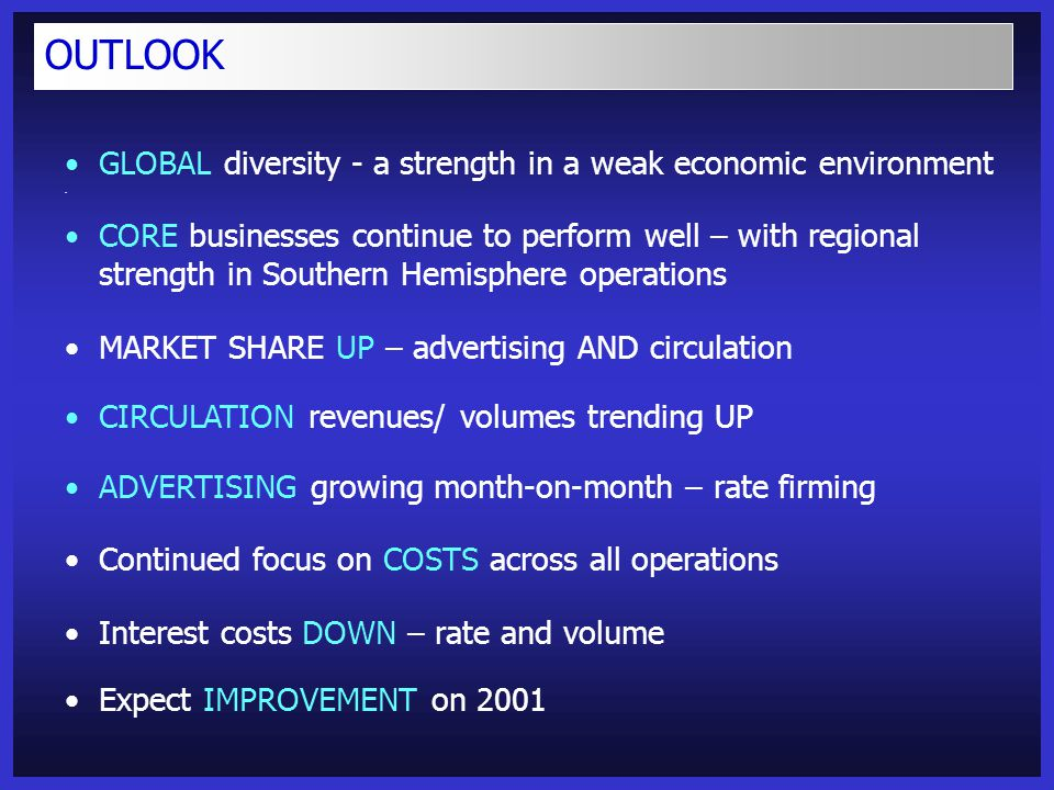 OUTLOOK GLOBAL diversity - a strength in a weak economic environment CORE businesses continue to perform well – with regional strength in Southern Hemisphere operations MARKET SHARE UP – advertising AND circulation CIRCULATION revenues/ volumes trending UP ADVERTISING growing month-on-month – rate firming Continued focus on COSTS across all operations Interest costs DOWN – rate and volume Expect IMPROVEMENT on 2001