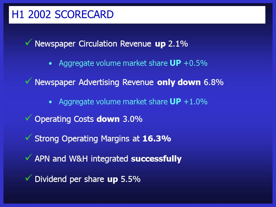 Newspaper Circulation Revenue up 2.1% Aggregate volume market share UP +0.5% Newspaper Advertising Revenue only down 6.8% Aggregate volume market share UP +1.0% Operating Costs down 3.0% Strong Operating Margins at 16.3% APN and W&H integrated successfully Dividend per share up 5.5% H1 2002 SCORECARD