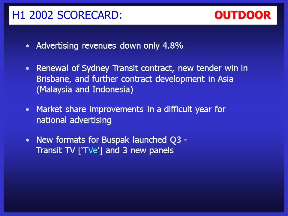 PUBLISHING H1 2002 SCORECARD: PUBLISHING Advertising revenues down only 6.8% with rate increases (despite heavy competitor discounting) offsetting volume contraction in Recruitment and Property Market share increases in all advertising categories '00-'01 Capex (Citywest and multi-site colour upgrades) providing enhanced competitive response Strong circulation and readership results underpin advertising share (volume and rate) increases