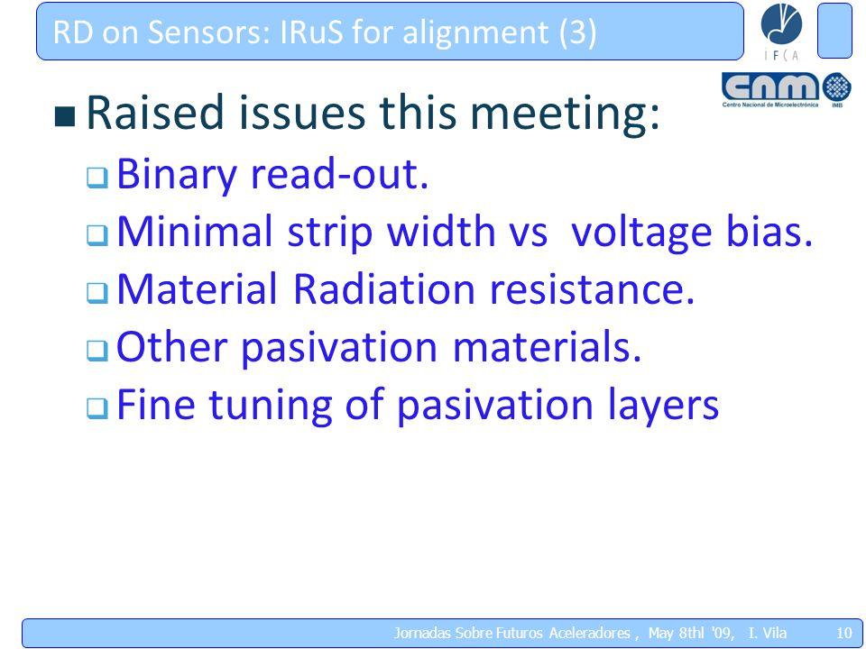 10 Jornadas Sobre Futuros Aceleradores, May 8thl '09, I. Vila RD on Sensors: IRuS for alignment (3) Raised issues this meeting:  Binary read-out.  M