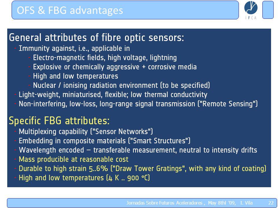 OFS & FBG advantages 22 Jornadas Sobre Futuros Aceleradores, May 8thl '09, I. Vila