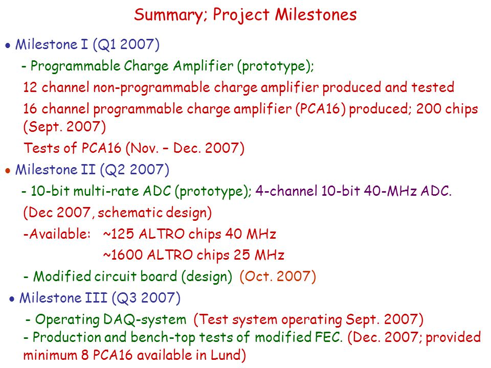  Milestone I (Q1 2007) - Programmable Charge Amplifier (prototype); 12 channel non-programmable charge amplifier produced and tested 16 channel programmable charge amplifier (PCA16) produced; 200 chips (Sept.