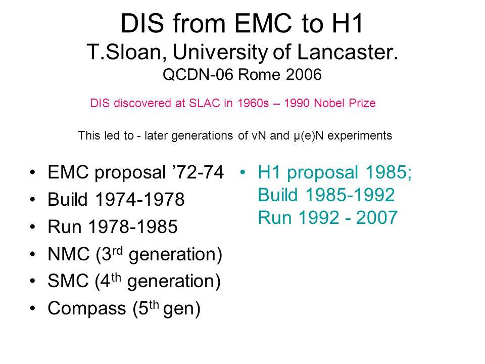 DIS from EMC to H1 T.Sloan, University of Lancaster. QCDN-06 Rome 2006 EMC proposal '72-74 Build 1974-1978 Run 1978-1985 NMC (3 rd generation) SMC (4