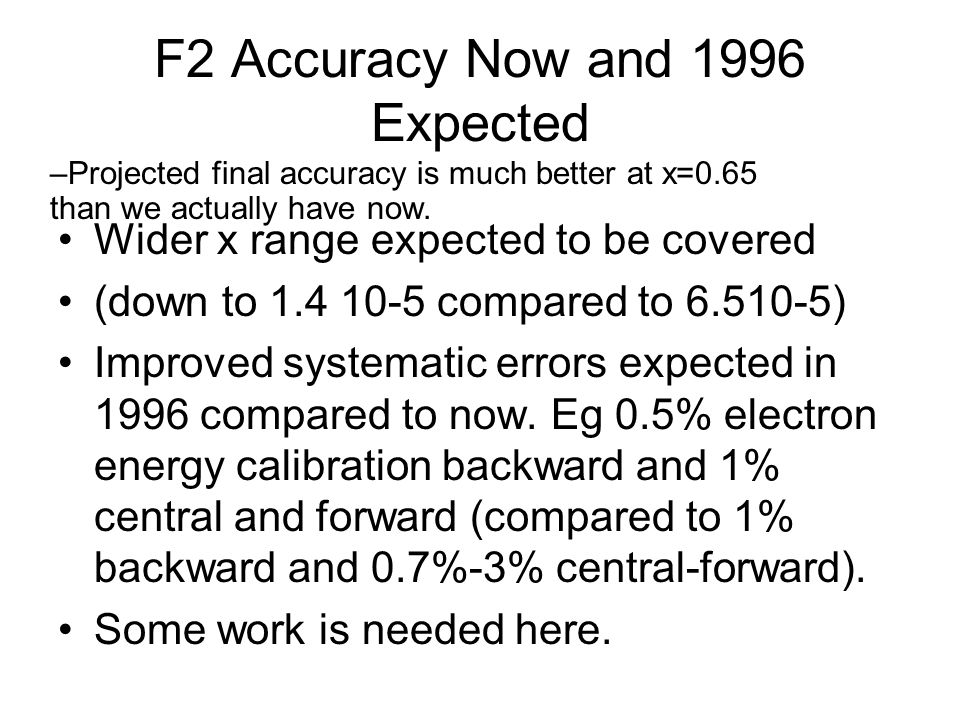 F2 Accuracy Now and 1996 Expected Wider x range expected to be covered (down to 1.4 10-5 compared to 6.510-5) Improved systematic errors expected in 1996 compared to now.