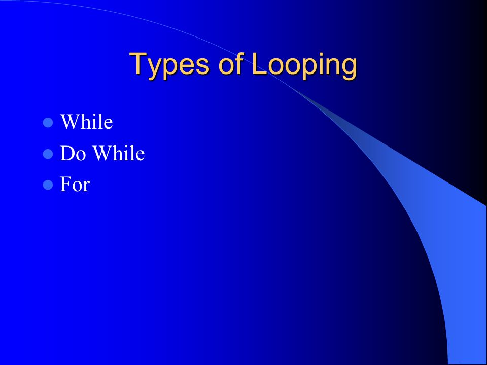 The For Loop run statements a specified number of times Requires: - the name of a control variable - its initial value - the increment/decrement by which the loop counter is modified - the testing condition for the final value