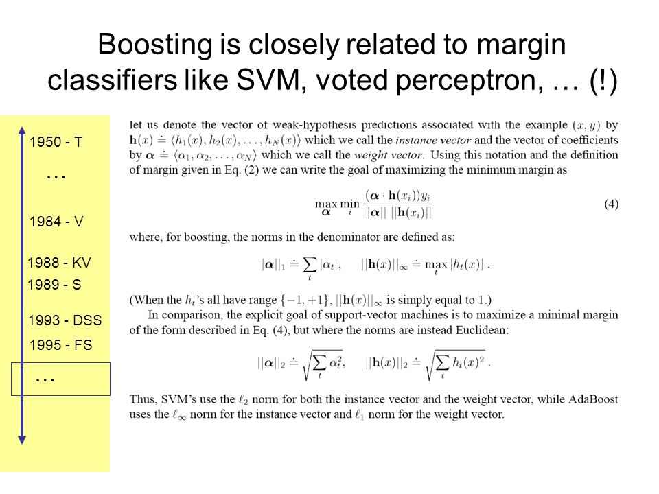 1984 - V 1988 - KV 1989 - S 1993 - DSS 1995 - FS 1950 - T … … Boosting is closely related to margin classifiers like SVM, voted perceptron, … (!)