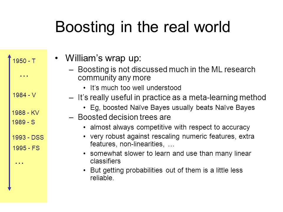 1984 - V 1988 - KV 1989 - S 1993 - DSS 1995 - FS 1950 - T … … Boosting in the real world William's wrap up: –Boosting is not discussed much in the ML research community any more It's much too well understood –It's really useful in practice as a meta-learning method Eg, boosted Naïve Bayes usually beats Naïve Bayes –Boosted decision trees are almost always competitive with respect to accuracy very robust against rescaling numeric features, extra features, non-linearities, … somewhat slower to learn and use than many linear classifiers But getting probabilities out of them is a little less reliable.