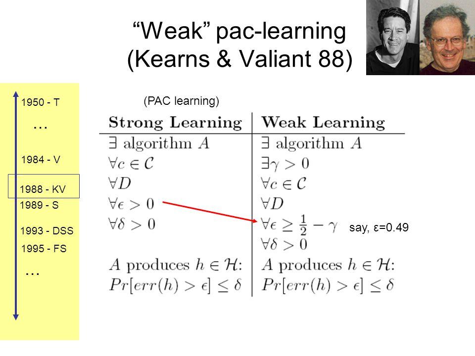 1984 - V 1988 - KV 1989 - S 1993 - DSS 1995 - FS 1950 - T … … Weak pac-learning (Kearns & Valiant 88) (PAC learning) say, ε=0.49
