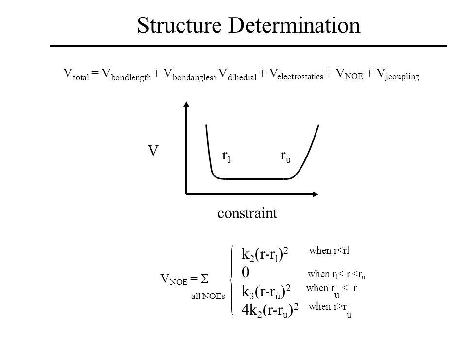V constraint V total = V bondlength + V bondangles, V dihedral + V electrostatics + V NOE + V jcoupling V NOE =  Structure Determination k 2 (r-r l ) 2 when r<rl 0 when r l < r <r u k 3 (r-r u ) 2 when r u < r 4k 2 (r-r u ) 2 when r>r u all NOEs ruru rlrl