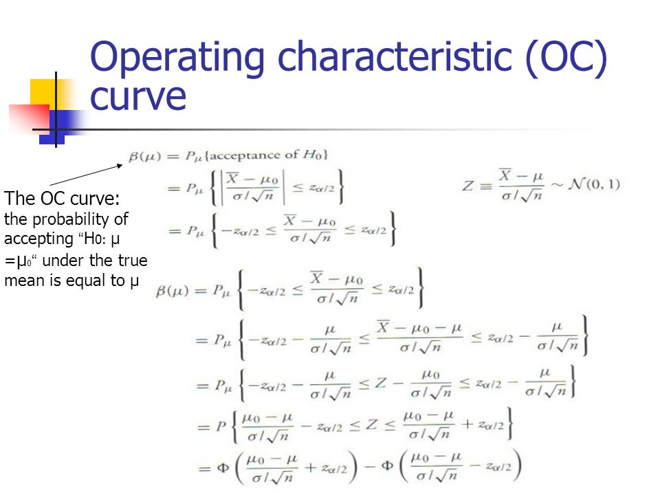 Operating characteristic (OC) curve The OC curve: the probability of accepting H 0: μ = μ 0 under the true mean is equal to μ