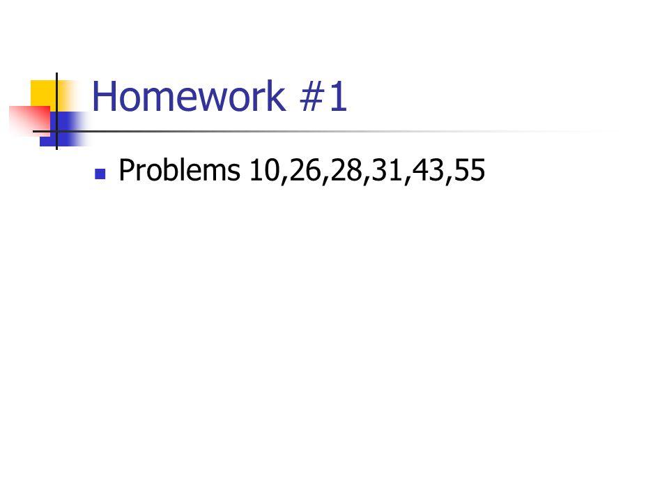 Homework #1 Problems 10,26,28,31,43,55