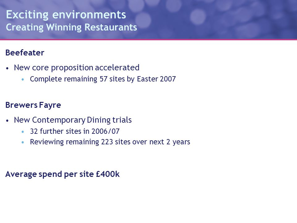 Exciting environments Creating Winning Restaurants Beefeater New core proposition accelerated Complete remaining 57 sites by Easter 2007 Brewers Fayre New Contemporary Dining trials 32 further sites in 2006/07 Reviewing remaining 223 sites over next 2 years Average spend per site £400k