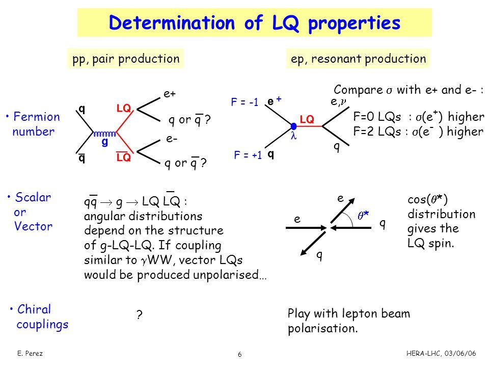 6 E. PerezHERA-LHC, 03/06/06 Determination of LQ properties e, q + F = -1 F = +1 F=0 LQs :  (e + ) higher F=2 LQs :  (e - ) higher Scalar or Vector