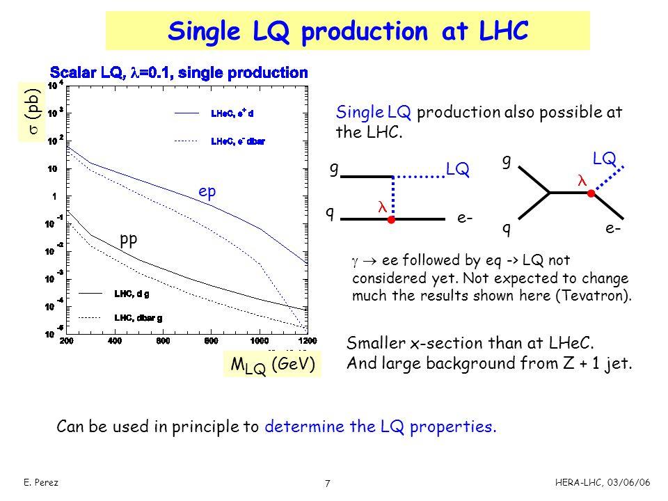 7 E. PerezHERA-LHC, 03/06/06 Single LQ production at LHC ep pp M LQ (GeV)  (pb) Single LQ production also possible at the LHC. Smaller x-section than