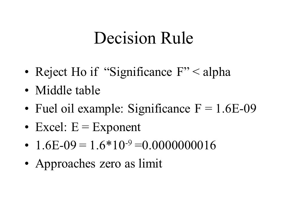 Decision Rule Reject Ho if Significance F < alpha Middle table Fuel oil example: Significance F = 1.6E-09 Excel: E = Exponent 1.6E-09 = 1.6*10 -9 =0.0000000016 Approaches zero as limit