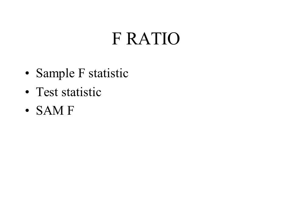 F RATIO Sample F statistic Test statistic SAM F