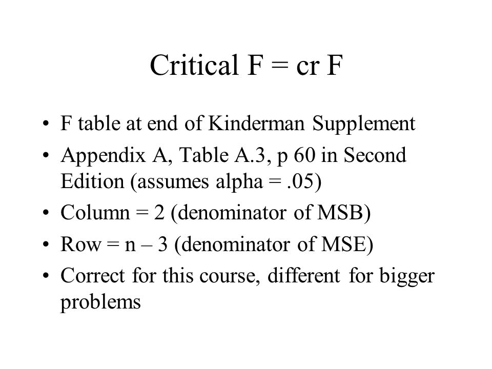 Critical F = cr F F table at end of Kinderman Supplement Appendix A, Table A.3, p 60 in Second Edition (assumes alpha =.05) Column = 2 (denominator of MSB) Row = n – 3 (denominator of MSE) Correct for this course, different for bigger problems