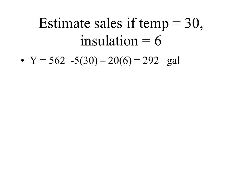 Estimate sales if temp = 30, insulation = 6 Y = 562 -5(30) – 20(6) = 292 gal