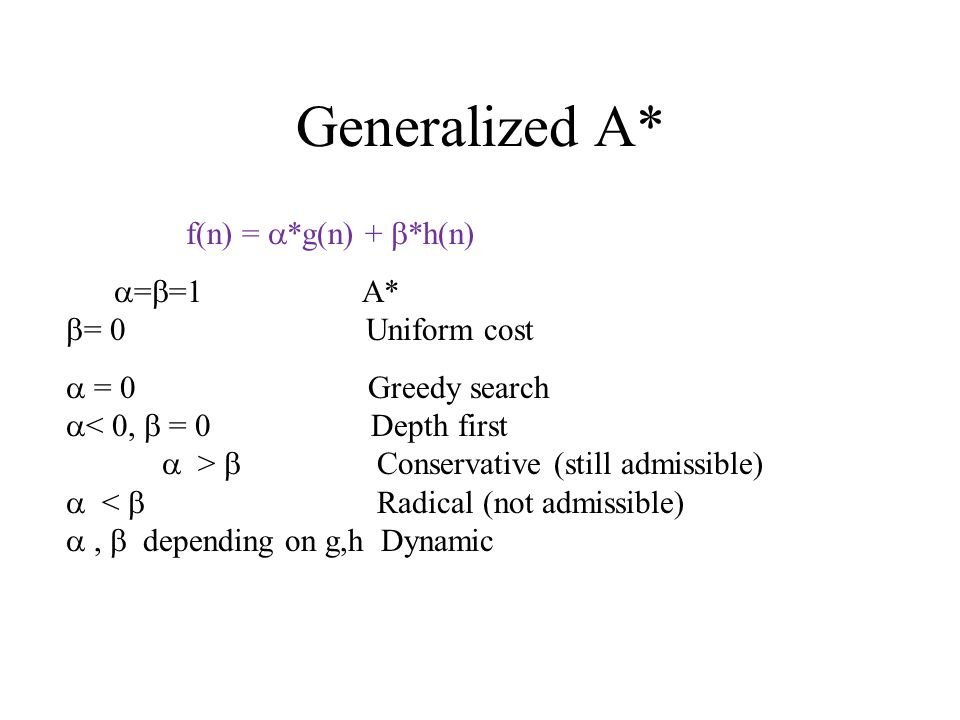 Generalized A* f(n) =  *g(n) +  *h(n)  =  =1 A*  = 0 Uniform cost  = 0 Greedy search  < 0,  = 0 Depth first  >  Conservative (still admissible)  <  Radical (not admissible) ,  depending on g,h Dynamic