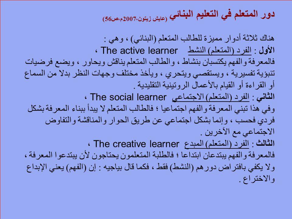 دور المتعلم في التعليم البنائي ( عايش زيتون، 2007 م،ص 56) هناك ثلاثة أدوار مميزة للطالب المتعلم ( البنائي ) ، وهي : الأول : الفرد ( المتعلم ) النشط Th