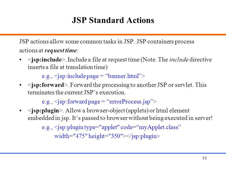 10 JSP Standard Actions JSP actions allow some common tasks in JSP.