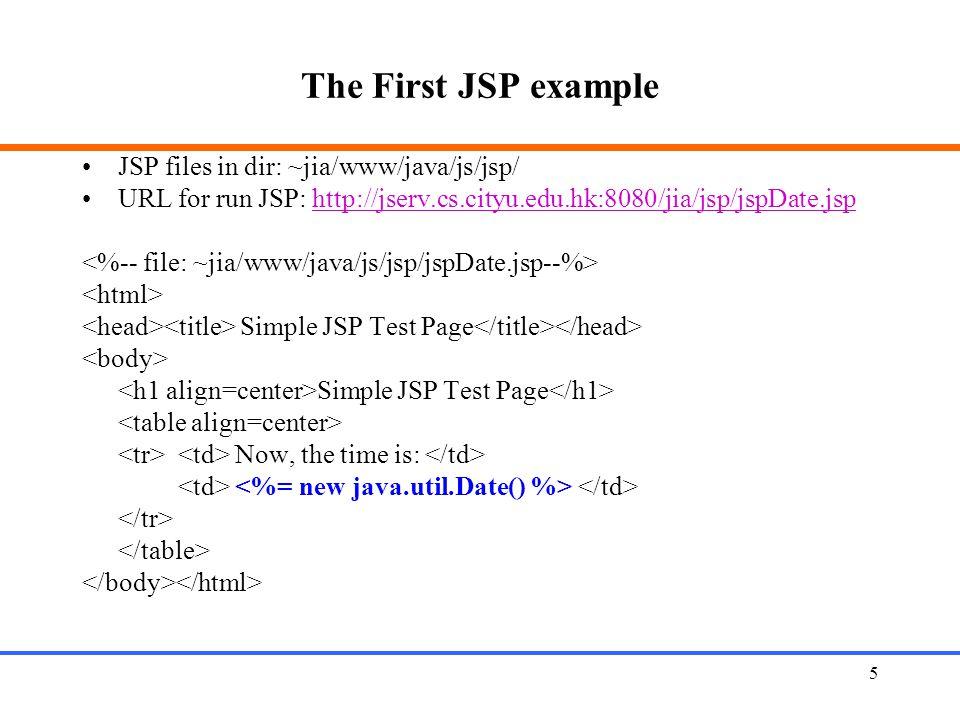 5 The First JSP example JSP files in dir: ~jia/www/java/js/jsp/ URL for run JSP: http://jserv.cs.cityu.edu.hk:8080/jia/jsp/jspDate.jsphttp://jserv.cs.cityu.edu.hk:8080/jia/jsp/jspDate.jsp Simple JSP Test Page Simple JSP Test Page Now, the time is: