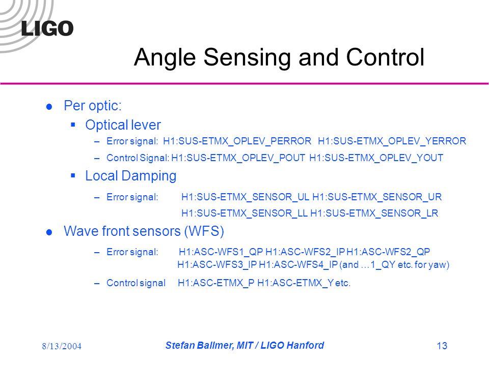 8/13/2004 Stefan Ballmer, MIT / LIGO Hanford 13 Angle Sensing and Control Per optic:  Optical lever –Error signal: H1:SUS-ETMX_OPLEV_PERROR H1:SUS-ETMX_OPLEV_YERROR –Control Signal: H1:SUS-ETMX_OPLEV_POUT H1:SUS-ETMX_OPLEV_YOUT  Local Damping –Error signal: H1:SUS-ETMX_SENSOR_UL H1:SUS-ETMX_SENSOR_UR H1:SUS-ETMX_SENSOR_LL H1:SUS-ETMX_SENSOR_LR Wave front sensors (WFS) –Error signal: H1:ASC-WFS1_QP H1:ASC-WFS2_IP H1:ASC-WFS2_QP H1:ASC-WFS3_IP H1:ASC-WFS4_IP (and …1_QY etc.