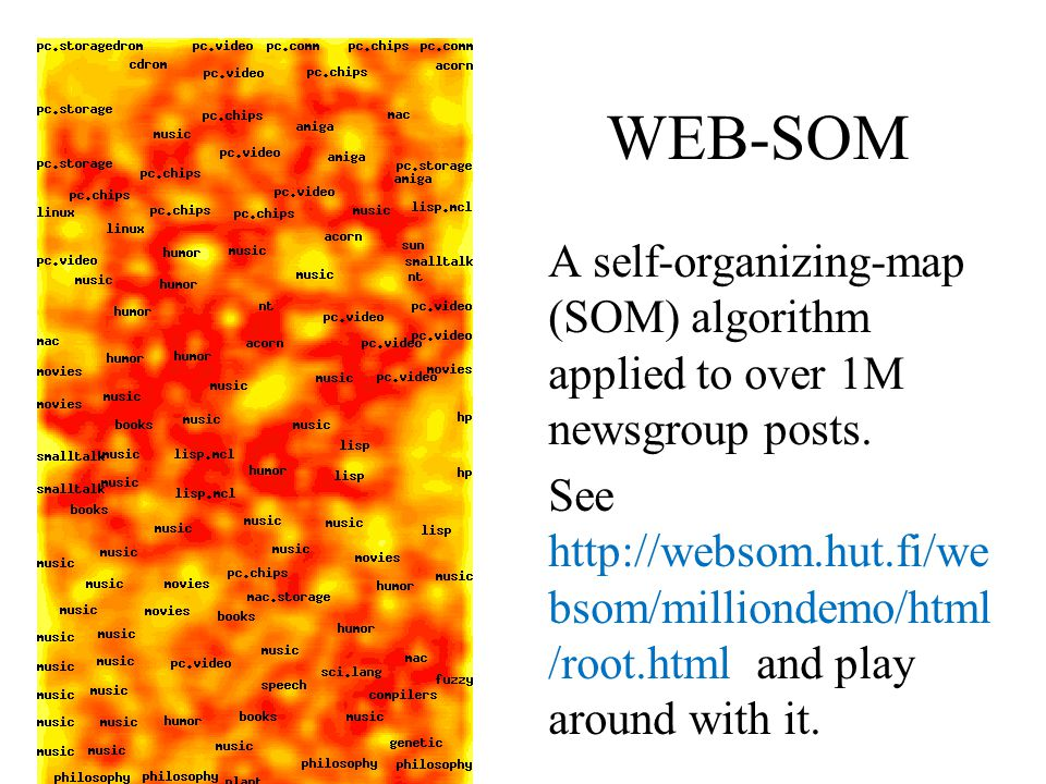 WEB-SOM A self-organizing-map (SOM) algorithm applied to over 1M newsgroup posts. See http://websom.hut.fi/we bsom/milliondemo/html /root.html and pla