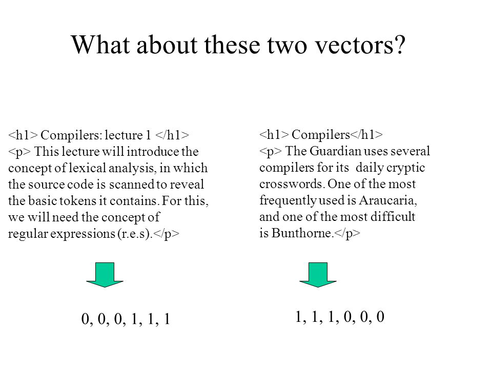 What about these two vectors? Compilers: lecture 1 This lecture will introduce the concept of lexical analysis, in which the source code is scanned to