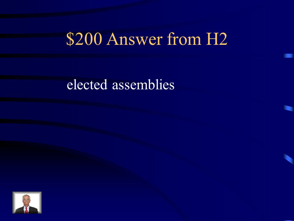 $200 Question from H2 Who made the laws in most colonies