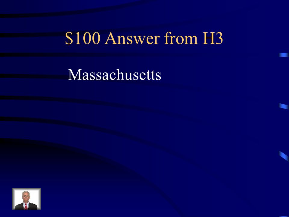 $100 Question from H3 Founded by Puritans Led by William Bradford and John Winthrop New England colony Very religious lifestyle