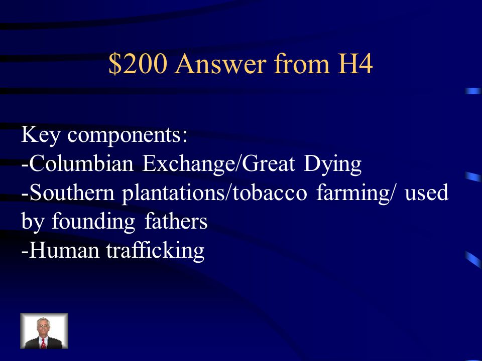 $200 Question from H4 Why was African slavery founded, and how was it later used in the colonies.