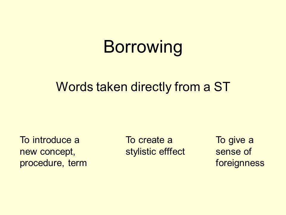 Borrowing Words taken directly from a ST To introduce a new concept, procedure, term To create a stylistic efffect To give a sense of foreignness