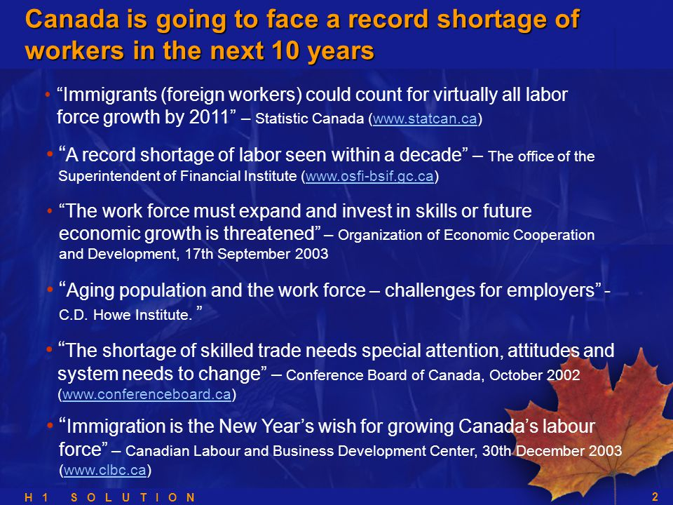 H 1 S O L U T I O N 2 A record shortage of labor seen within a decade – The office of the Superintendent of Financial Institute (www.osfi-bsif.gc.ca)www.osfi-bsif.gc.ca The work force must expand and invest in skills or future economic growth is threatened – Organization of Economic Cooperation and Development, 17th September 2003 Aging population and the work force – challenges for employers - C.D.