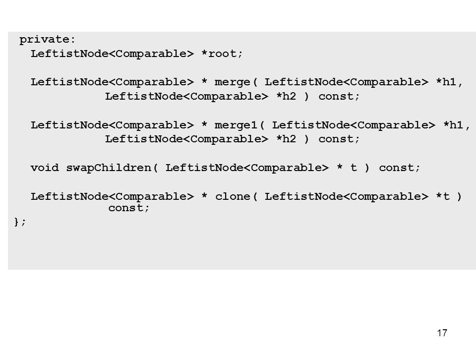 17 private: LeftistNode *root; LeftistNode * merge( LeftistNode *h1, LeftistNode *h2 ) const; LeftistNode * merge1( LeftistNode *h1, LeftistNode *h2 ) const; void swapChildren( LeftistNode * t ) const; LeftistNode * clone( LeftistNode *t ) const; };