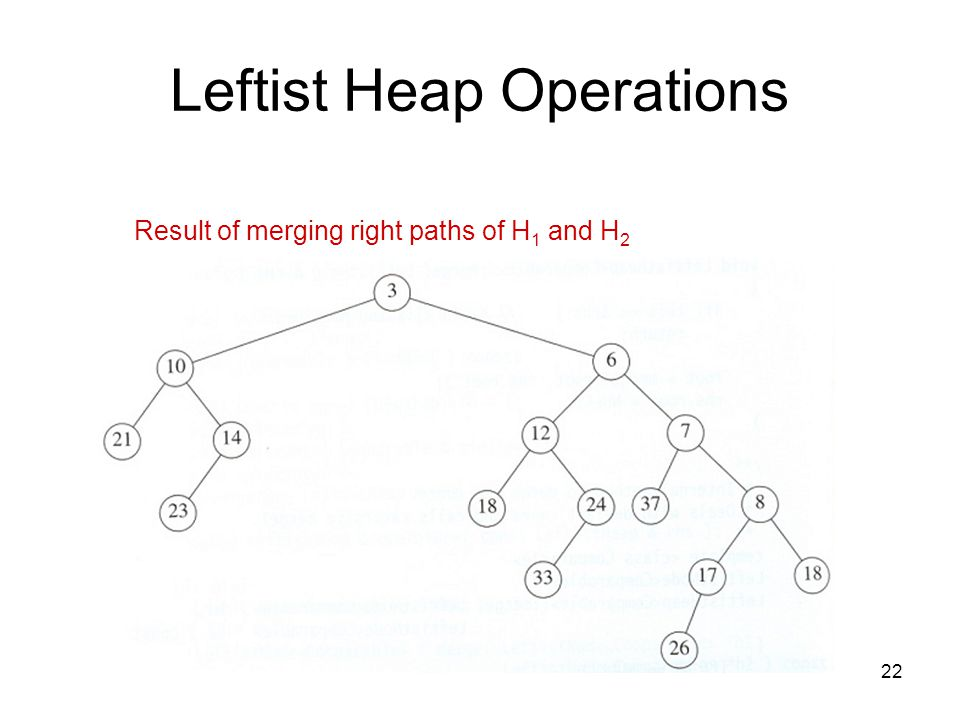 22 Leftist Heap Operations Result of merging right paths of H 1 and H 2