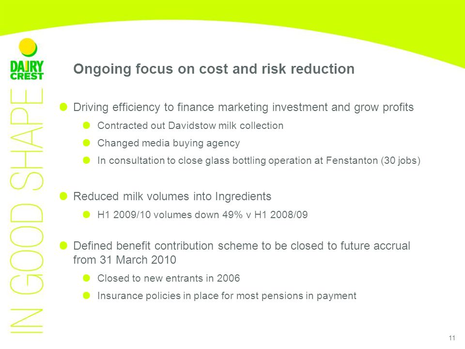 11 Ongoing focus on cost and risk reduction Driving efficiency to finance marketing investment and grow profits Contracted out Davidstow milk collection Changed media buying agency In consultation to close glass bottling operation at Fenstanton (30 jobs) Reduced milk volumes into Ingredients H1 2009/10 volumes down 49% v H1 2008/09 Defined benefit contribution scheme to be closed to future accrual from 31 March 2010 Closed to new entrants in 2006 Insurance policies in place for most pensions in payment