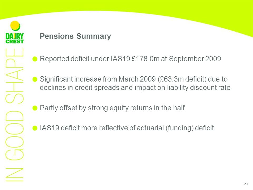 23 Pensions Summary Reported deficit under IAS19 £178.0m at September 2009 Significant increase from March 2009 (£63.3m deficit) due to declines in credit spreads and impact on liability discount rate Partly offset by strong equity returns in the half IAS19 deficit more reflective of actuarial (funding) deficit